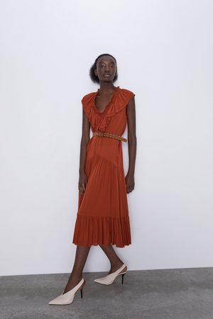 Zara Mujer Vestidos - Vestido volantes cinturón