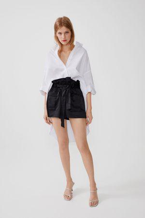 Zara Mujer Bermudas - Shorts cargo cinturón