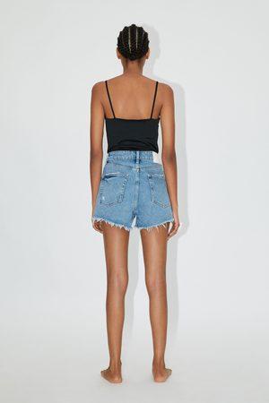 Zara Mujer Bermudas - Shorts denim hi rise rotos