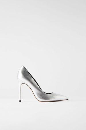 Zara Mujer Tacón - Zapato tacón alto piel metalizado