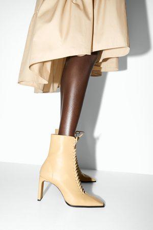 Zara Mujer Botines - Botín tacón piel acordonado
