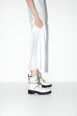 Zara Mujer Botines - Botín plano piel motero