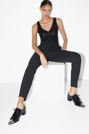 Zara Zapato plano piel punta metal