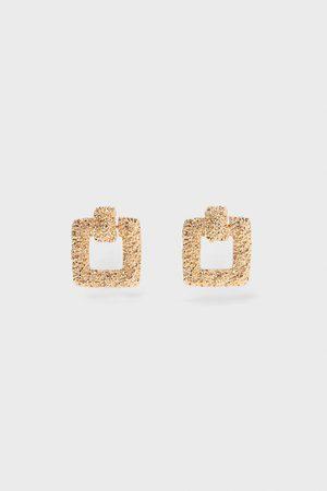 Zara Mujer Pendientes - Pendientes textura cuadrados