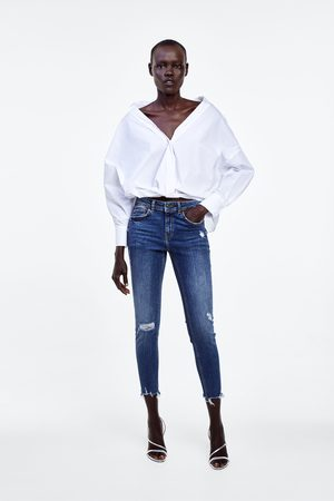 Zara Mujer Pitillos - Jeans z1975 mid rise skinny rotos