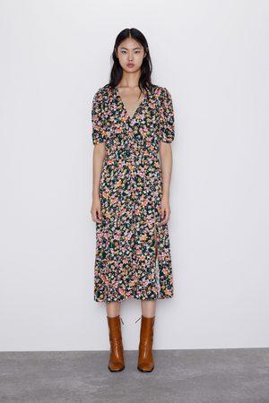 Zara Vestido estampado floral abertura