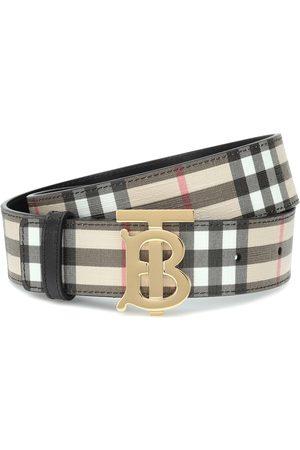 Burberry Cinturón TB Check de lona y piel