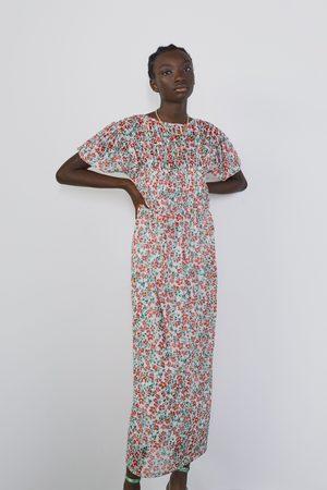 Zara Vestido tul estampado floral