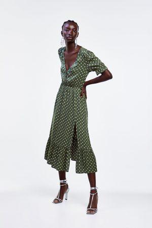 Zara Vestido estampado lunares abertura