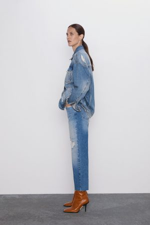 Zara Jeans z1975 high rise straight cropped rotos