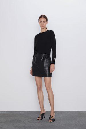 Zara Mujer Minifaldas - Falda mini efecto piel bolsillos