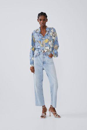 Zara Camisa estampada manga volumen
