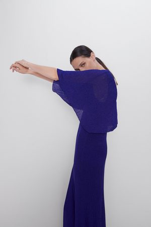 Zara Vestido capa hilo metalizado