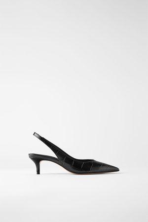 Zara Mujer Tacón - Zapato tacón medio piel destalonado
