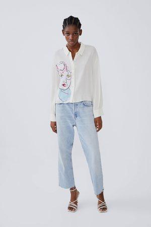 Zara Camisa estampada volumen manga