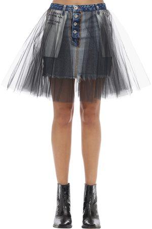 UNRAVEL | Mujer Mini Falda De Denim De Algodón Y Tul /negro 24