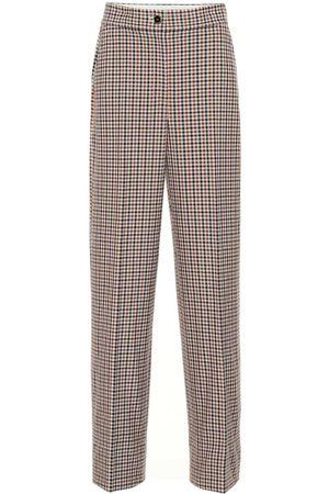 Tory Burch Pantalones de cuadros de tiro alto