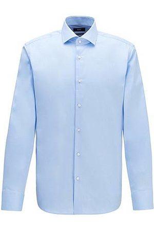 HUGO BOSS Camisa regular fit en sarga de algodón liso