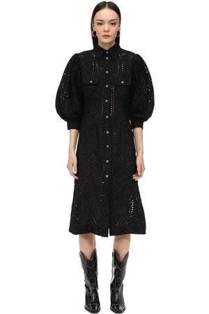 Ganni | Mujer Vestido Midi De Bordado Inglés 34