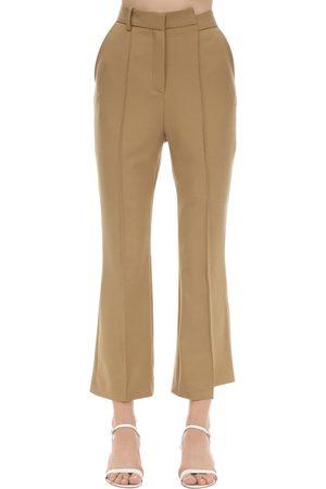 Rokh | Mujer Pantalones Cropped Acampanados De Sarga De Viscosa 34