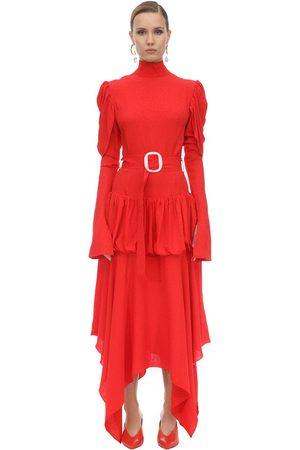 MATÉRIEL by Aleksandre Akhalkatsishvili Matériel | Mujer Vestido Midi De Viscosa Crepe Con Cinturón Xs