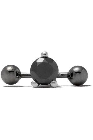 DELFINA DELETTREZ Pendientes - Pendiente Two In One en oro blanco de 18kt con diamante negro y piercing