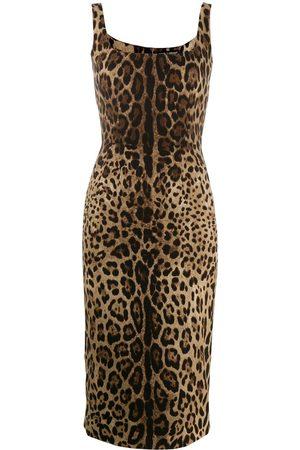 Dolce & Gabbana Mujer Cóctel - Vestido ajustado con estampado de leopardo