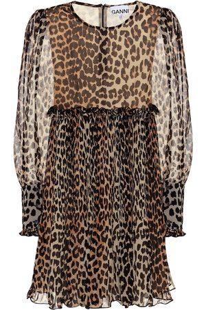 Ganni Vestido corto de leopardo
