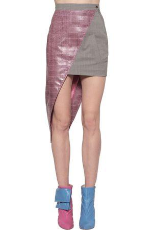 Natasha Zinko | Mujer Mini Falda Asimétrica De Lana Revestida /gris 34