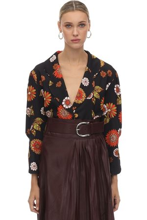 DODO BAR OR   Mujer Blusa De Crepe De China Estampado /naranja 40