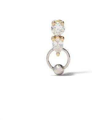 DELFINA DELETTREZ Pendiente dos en uno en oro amarillo y blanco de 18kt con diamantes