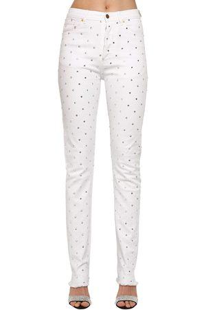 ALEXANDRE VAUTHIER   Mujer Jeans De Denim De Algodón Con Cristales Xs