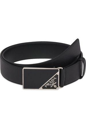 Prada Cinturón de piel saffiano con hebilla con logo