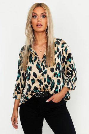 Boohoo Camisa De Satén Con Estampado De Leopardo Plus