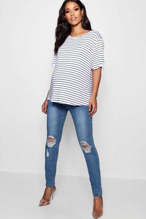 Boohoo Jeans Skinny Por Encima De La Barriga Con Rodillas Desgastadas Premamá