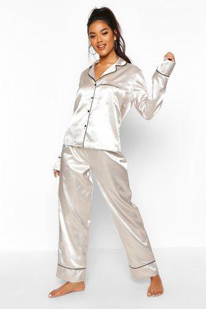 Boohoo Conjunto De Pijama En Satén Con Ribetes Abotonada