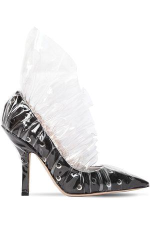 """Midnight 00 Zapatos """"shell"""" De Satén Y Plexi Fruncido 105mm"""