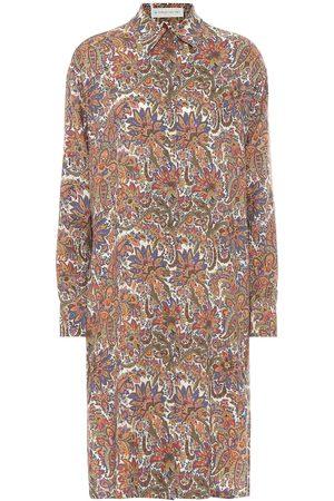 Etro Vestido camisero de lana y seda