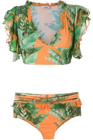 AMIR SLAMA Top de bikini estampado corto