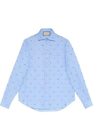 Gucci Camicia in cotone fil coupé con simboli