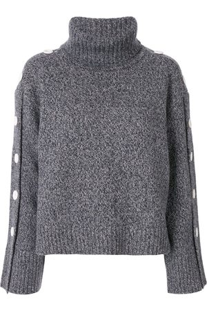 Moon J Button-detail roll neck jumper