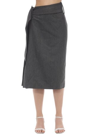 Rokh | Mujer Falda Midi Plisada De Lana 34