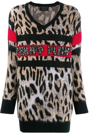 Philipp Plein Top con motivo de leopardo y cuello en V