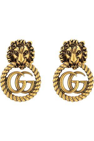 Gucci Pendientes - Pendientes con cabeza de león y Doble G