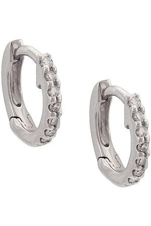 Dana Rebecca Designs Pendientes huggies en oro blanco de 14kt con diamantes