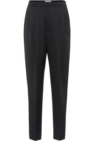Saint Laurent Pantalones de lana virgen tiro alto