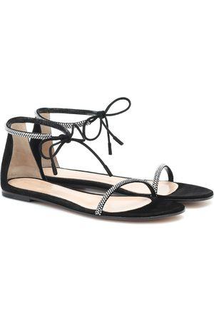 Gianvito Rossi Mujer Sandalias - Sandalias de gamuza con adornos