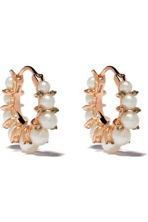 ANNOUSHKA Aros en oro rosa de 18kt con diamantes y perlas
