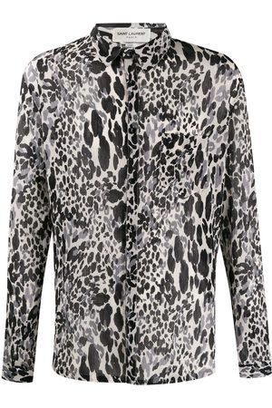 Saint Laurent Camisa con motivo animal print y manga larga
