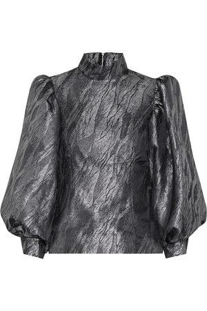Ganni Blusa de jacquard metalizada